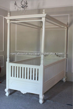 Indonesia Furniture - Sweetheart Canopy Bed , Cream