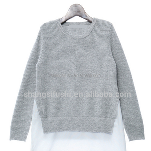 OEM Personality Women fabric underlayered pullover long sweater