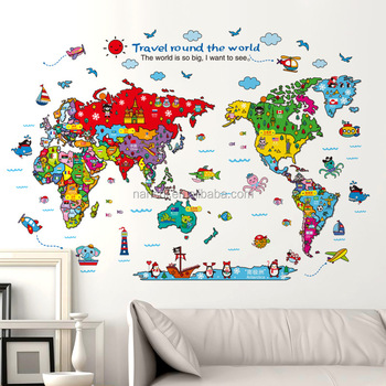 Bedroom background decorative self adhesive cute cartoon world map bedroom background decorative self adhesive cute cartoon world map wall stickers children room decoration wall gumiabroncs Images