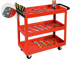 Tool cart trolley 4 wheels hand push cart for warehouse with 3 Trays
