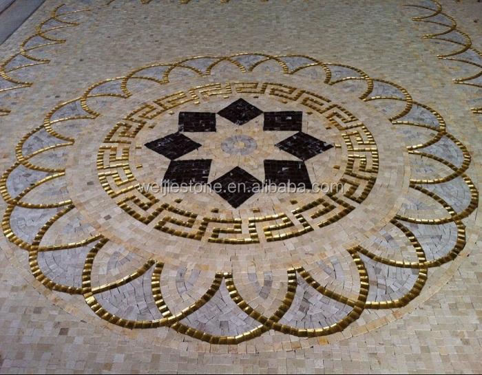 Marble Floor Tile Mosaic Murals : Lobby floor luxury tile marble mosaic medallion pattern