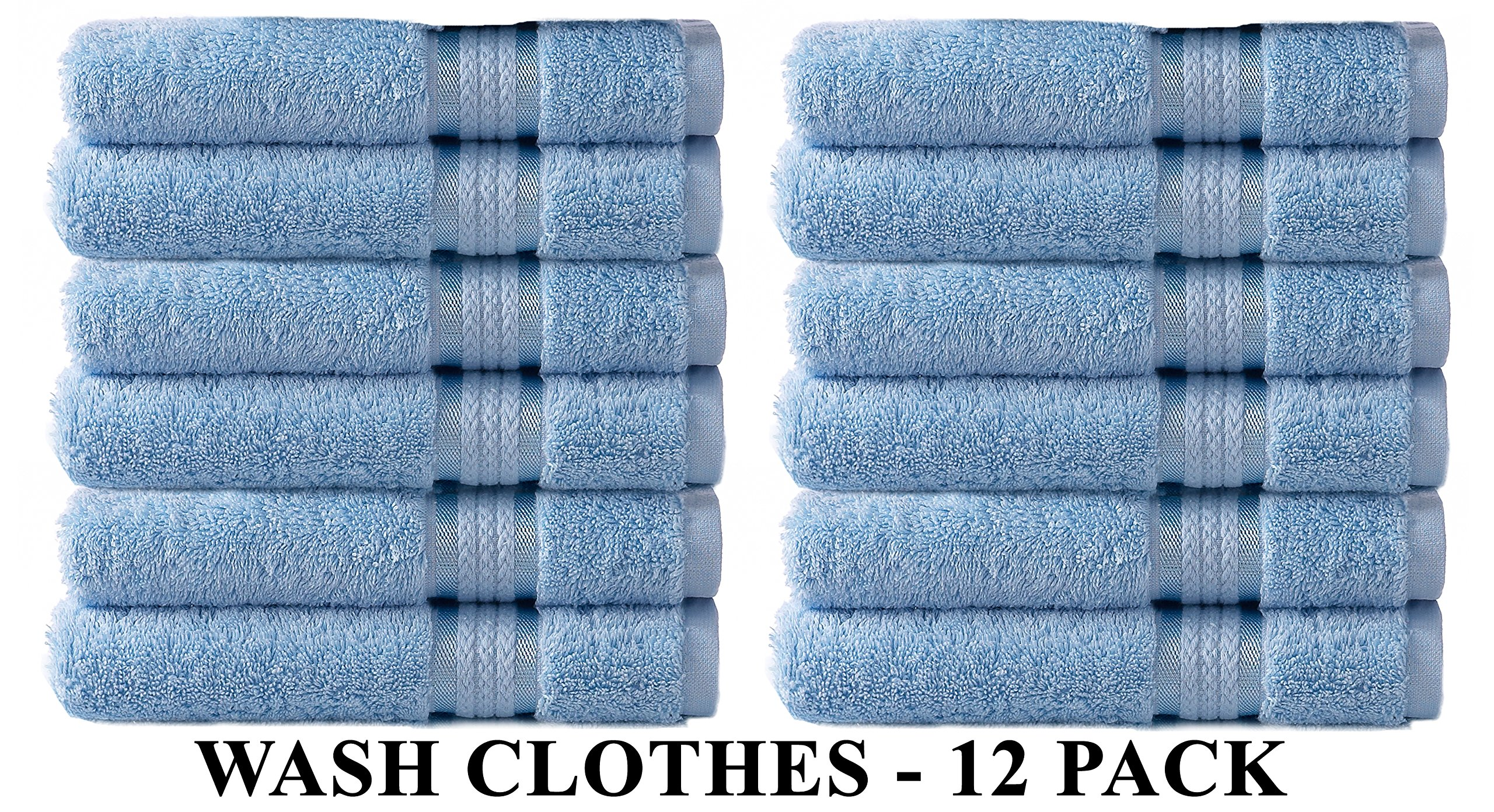 Cotton Craft Ultra Soft 12 Pack Wash Cloths 12x12 Light Blue weighs 2 Ounces each - 100% Pure Ringspun Cotton - Luxurious Rayon trim - Ideal for everyday use - Easy care machine wash