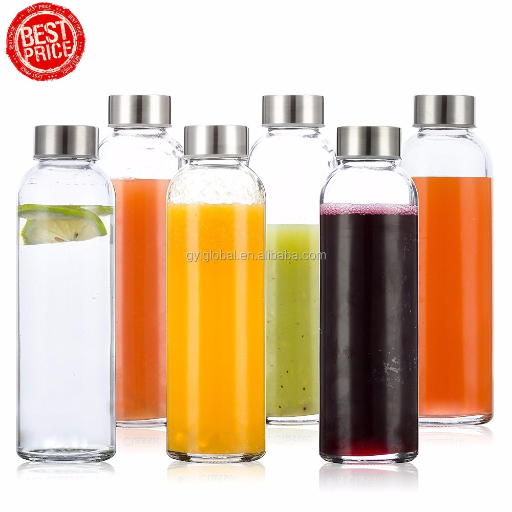 Glass Water Bottles 6 Pack Deluxe Set 18oz - Includes 6 Sleeves. Stainless Steel Lids - Kombucha, Juice, Tea