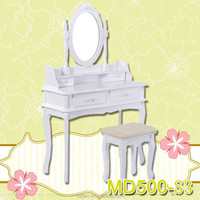 White Dressing Table Makeup Desk with Stool Drawers and Rectangle Mirror Bedroom