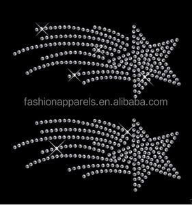 Clear 4x sm Shooting Star iron on Rhinestone Transfer crystal hotfix t-shirt transfer