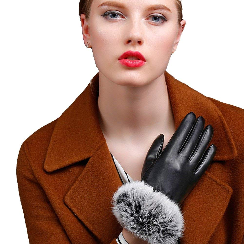 Neaer Faux Rabbit Fur Hasp Fur Fashion Wrist Warm Women's Leather Gloves For Winter
