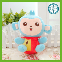 Hot selling small cheap plush blue monkey with red and yellow cloth