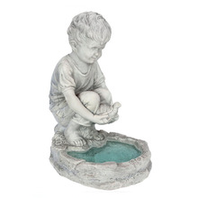 Hand finished European resin little garden boy statue
