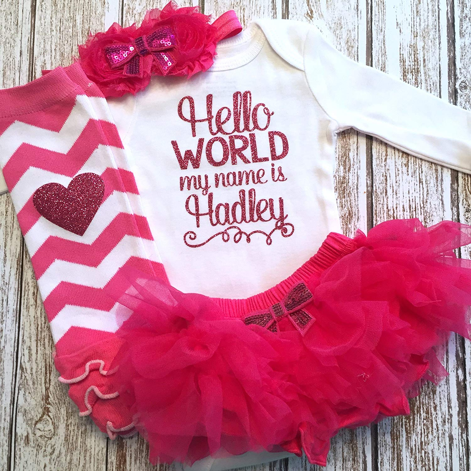 Personalized Baby Girl Outfit Watermelon Party Baby Shower Gift Pink and Lime Optional Tutu Bloomers Headband and Leg Warmers