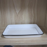 Square Enamel Baking Tray with Rolled Rim
