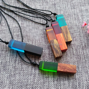 Fashion Women Men Necklace Handmade Vintage Resin Wood Necklaces Pendants Long Rope Wooden Necklace Jewelry