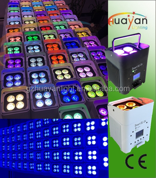 Quad-4 LED Uplighting for DJ events 24 hours working last wireless battery powered led par can
