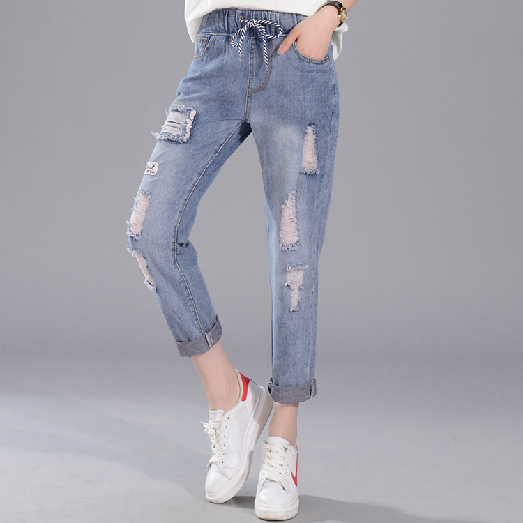 OEM customize latest design high quality high waist ripped ladies jeans