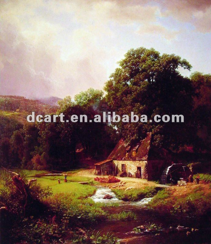 Village scenery oil painting