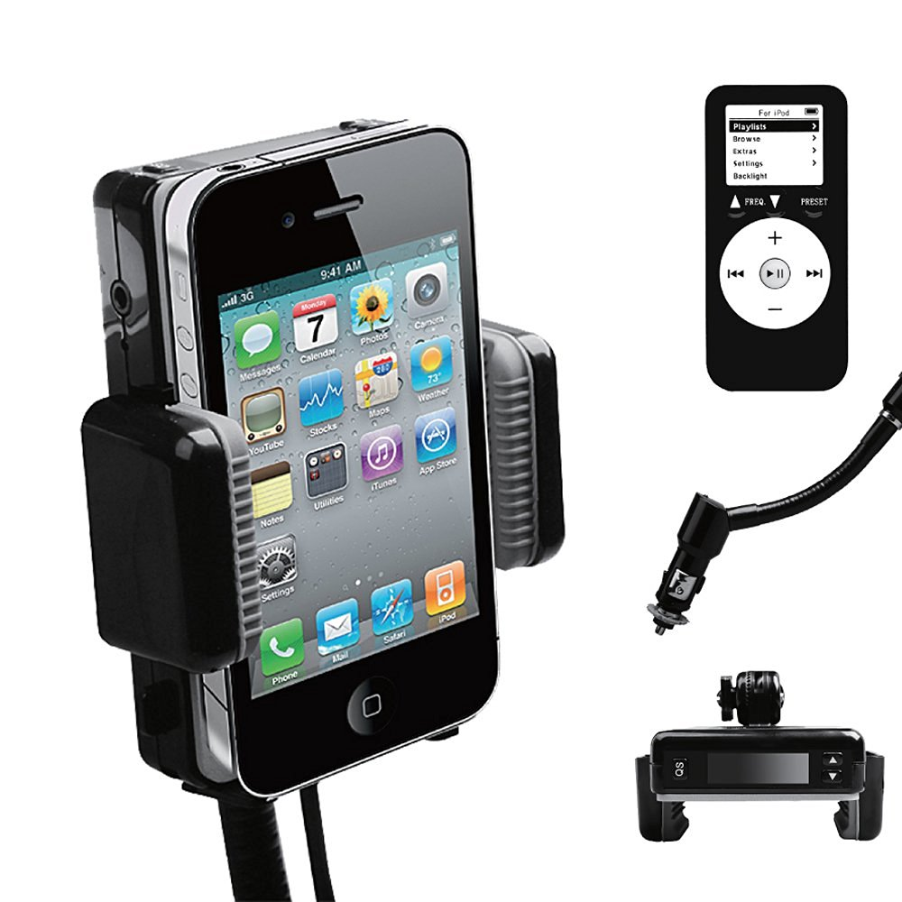 Wireless Automobile FM Transmitter + Car Charger + Holder/Dock + REMOTE for iPod Touch Touch 2G Classic Nano 3G 4G 5G Compatible with iPhone 3G /3GS/ 4G