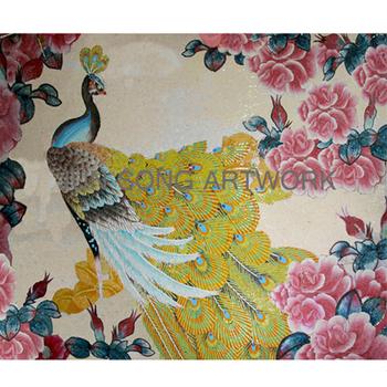 Js Mam Pc10 Handmade Wall Tile Murals Peacock Mosaic Glass Painting