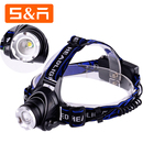 LED Headlamp Rechargeable Head Lamp Zoom Waterproof 18650 Headlight Flashlight 3 Modes USB Charging Camping Hunting