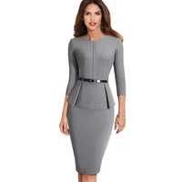 Women Formal Sheath Bodycon Gray Office Peplum Pencil Elegant Career Dress