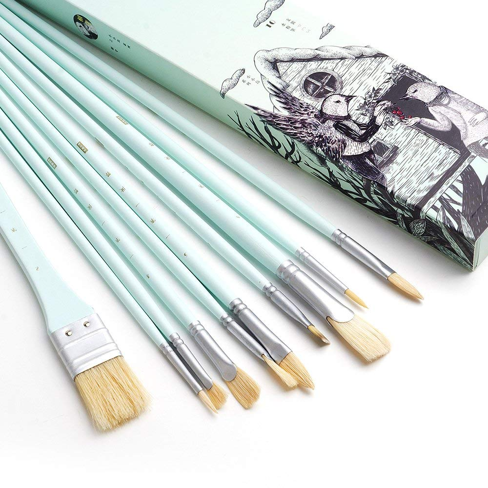 MIYA Paint Brush Set - 10 Pieces Long Handle Hog Bristle Brush Great for Watercolor, Gouache, Oil, Acrylic Painting & More (Green)