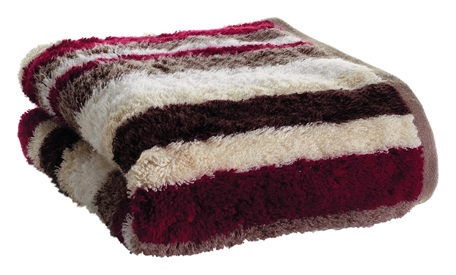Daisy House Striped Rayon Derived from Bamboo Towel Set (2 bath, 2 hand & 2 wash), Bordeaux