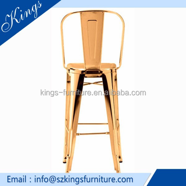 KF-B354 Wholesale Luxury Modern Chrome Gold Events Metal Bar Stool