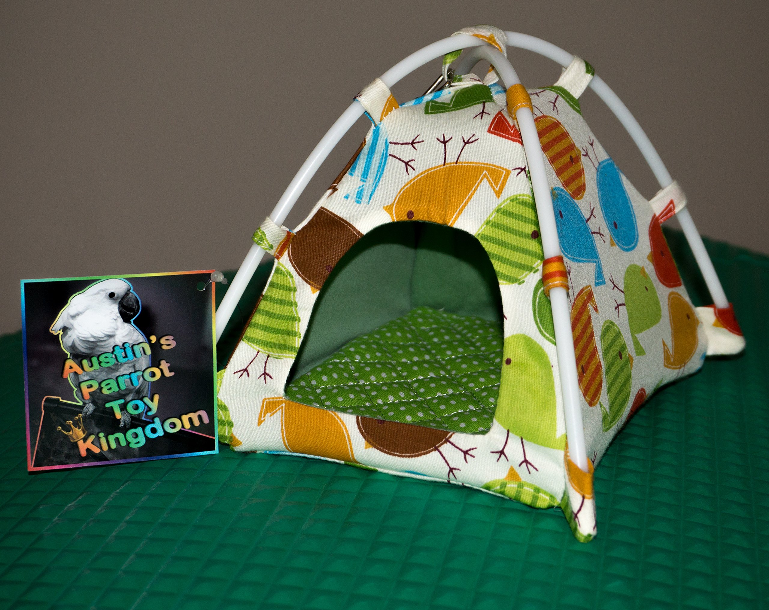 Austin's Parrot Toy Kingdom Colorful Pet Bird Nesting Tent Handcrafted Nesting Tent for your Parrot Bird Companion - Vibrant Fun Fabric Print to Stimulate & Entertain your Pet