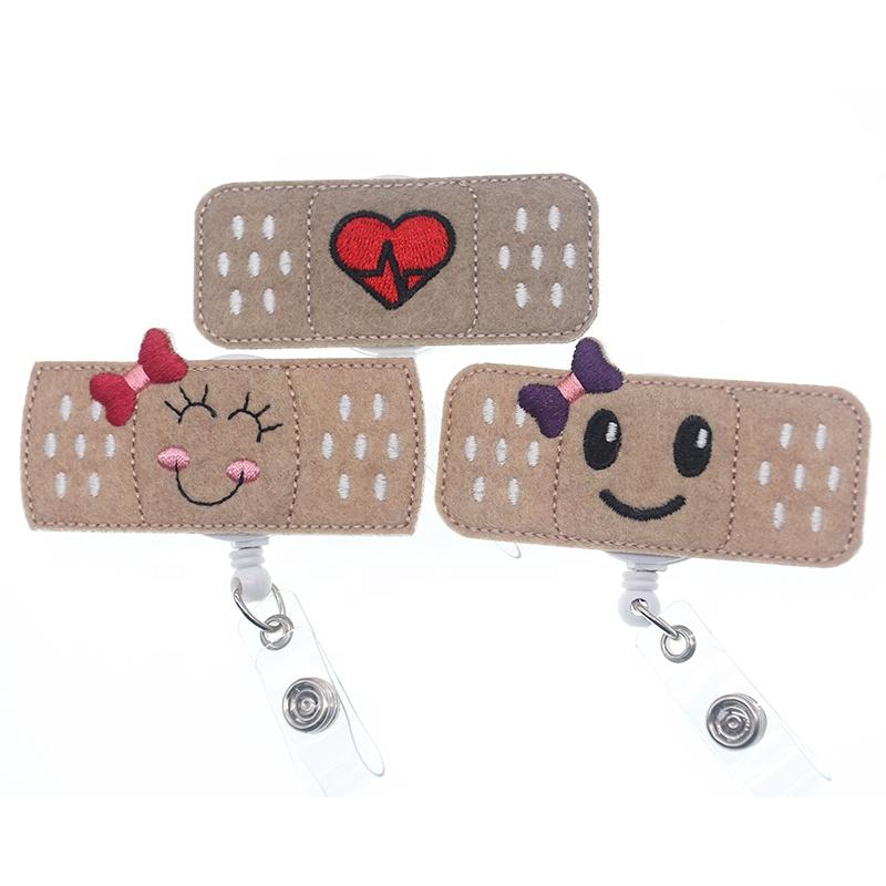 medical smiling bandage RN nurse retractable id badge reel/nursing band Aid felt id badge holder, Various;as your choice