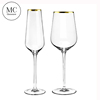 Gold rimmed wedding decorated glassware set / wine glass
