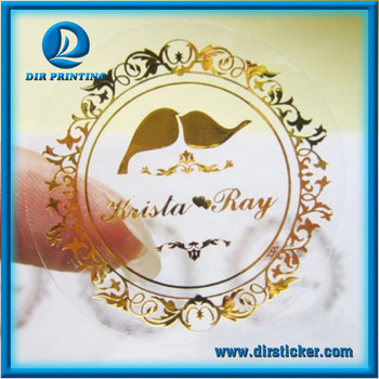 Custom non toxic bopp gold foil transparent sticker vinyl clear strong self adhesive waterproof