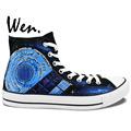 Wen Hand Painted Shoes Design Custom Doctor Who Pandorica Tardis Accompanying Textual High Top Men Women