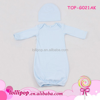 c49581283 Newborn Baby Boys Girls Baptism White Cotton Nightgown Long Sleeve ...