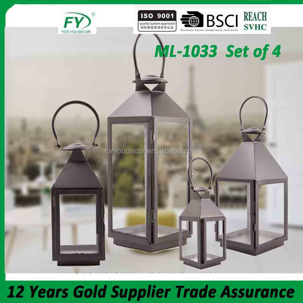 The latest design garden and swimming pool decoration home metal candle lantern ML-1033 set of 4