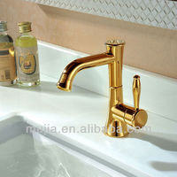 Solid Brass Contemporary Single Handle Ti-PVD Finish Bathroom Sink Faucet