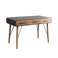 Pastoral LOFT Style Cement Colored Office Table with 3 Drawers