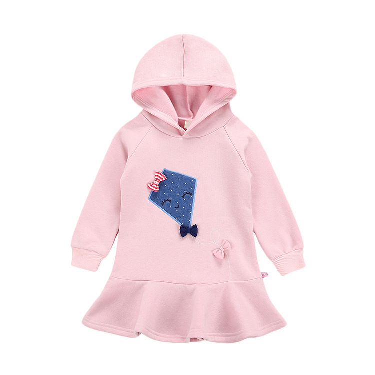 Hot Selling kids 100% cotton french terry fabric children hoodies dress
