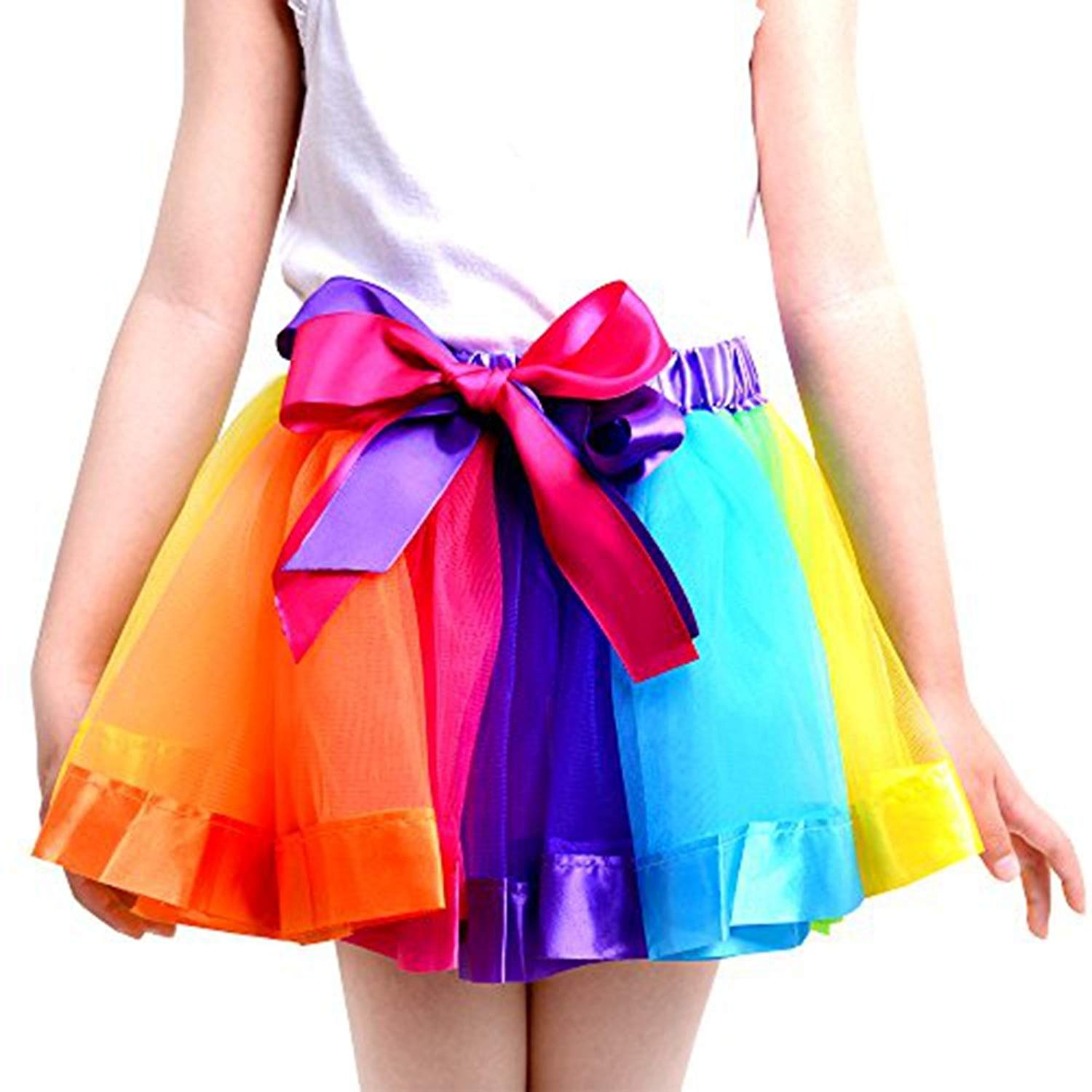 210ff315e Get Quotations · UOMNY Girls Layered Rainbow Ribbon Tutu Skirt Dance Dress  Tutus for Girls 1-2 Years