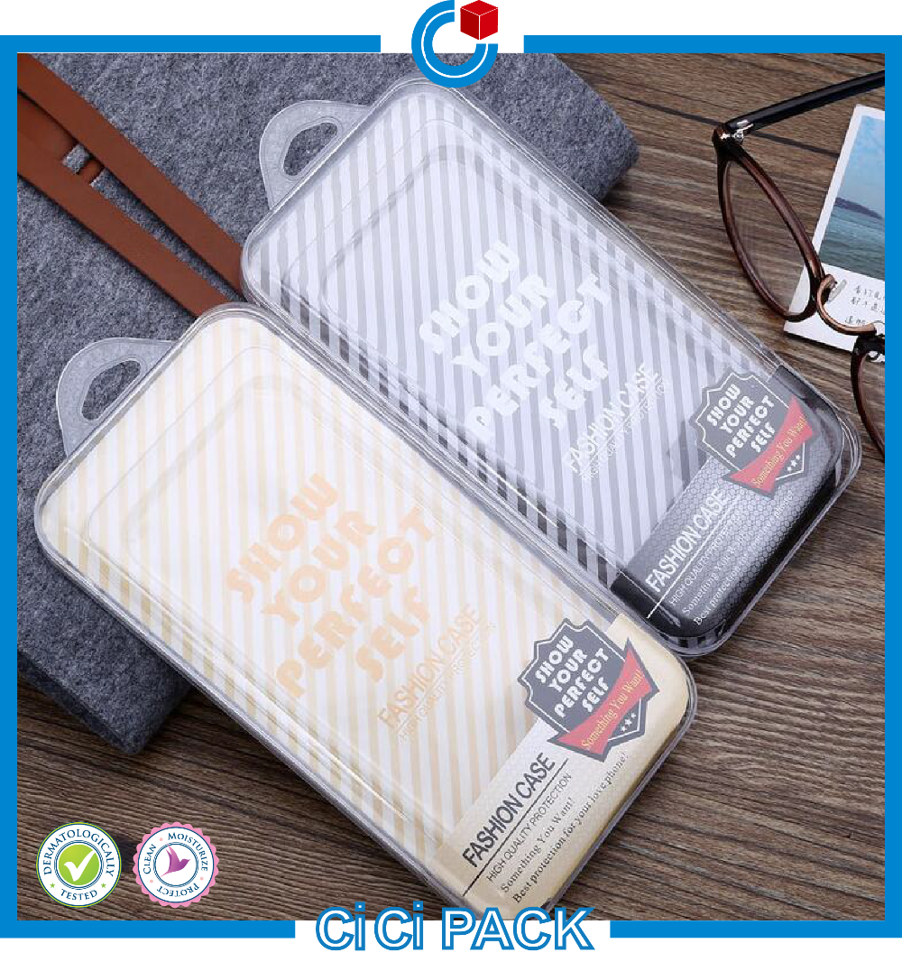 Top quality custom cell phone case plastic pvc package wholesale with inner tray