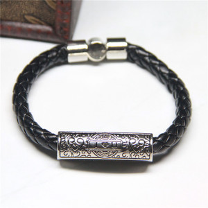 Fashion Stainless Steel Black Bracelet Bangle Magnetic Clasp Genuine Leather ILOVEYOU