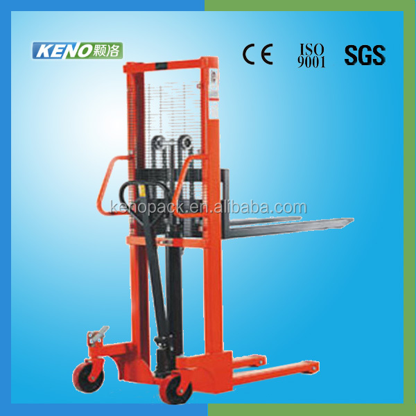 Hand operate hydraulic fork lift truck stacking machine