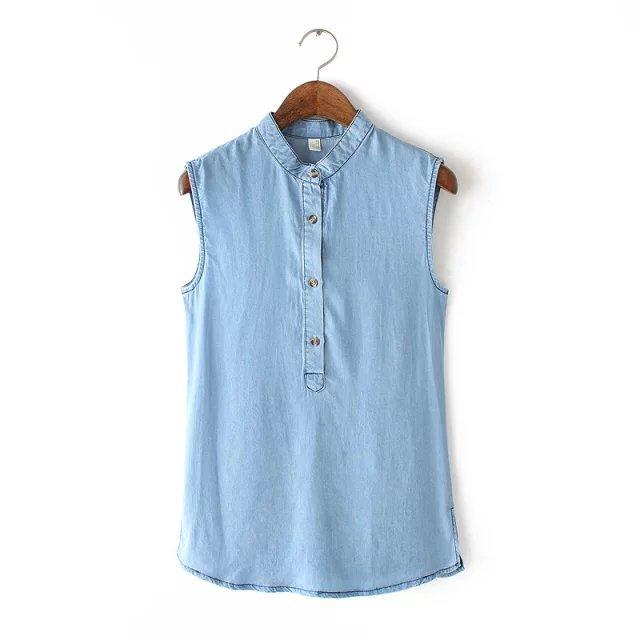 5cd0d32d004 Get Quotations · Sleeveless Tencel denim shirt female summer 2015 European  and American style sleeveless vest denim shirt thin