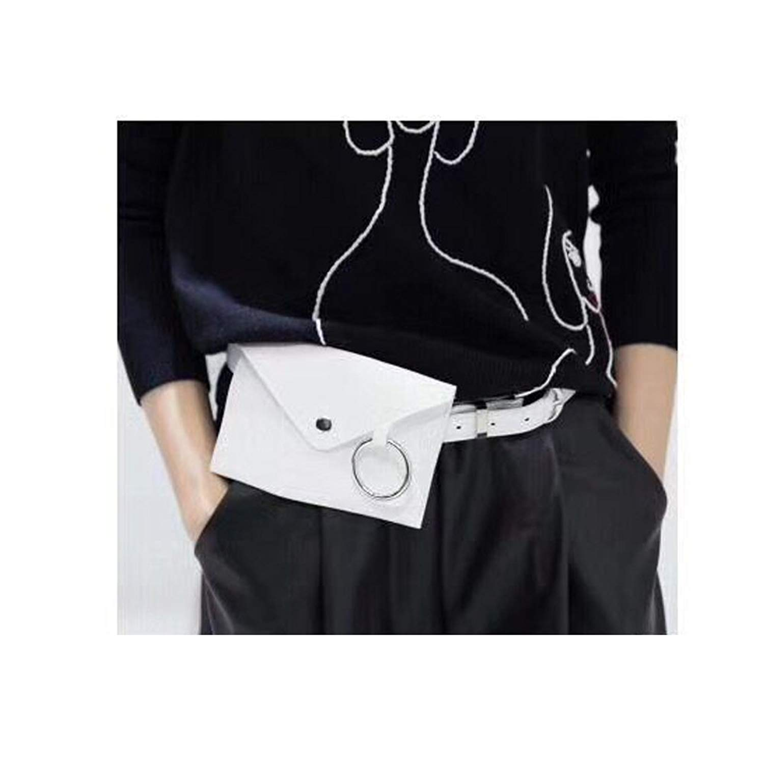 Womens side buckle leather fanny pack,VITORIA'S GIFT removable Round buckle Belt with MINI Purse Travel Cell Phone Bag