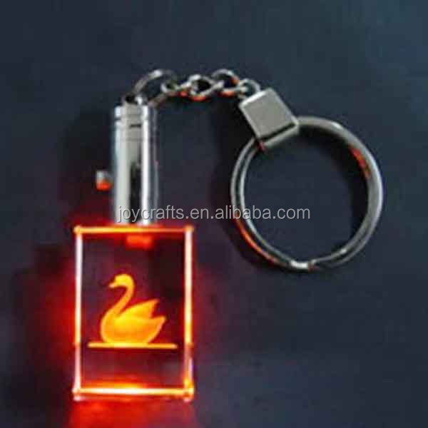 Goose Laser Red Clear LED Crystal Keychain