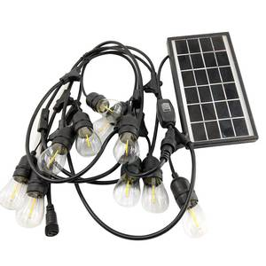 Waterproof outdoor Christmas light string, E26 E27 black solar outdoor string lights