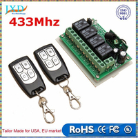 Universal 12V 4CH Channel 433Mhz Wireless Remote Control Switch Integrated Circuit with 2 Transmitter DIY Replace Parts Tool Kit