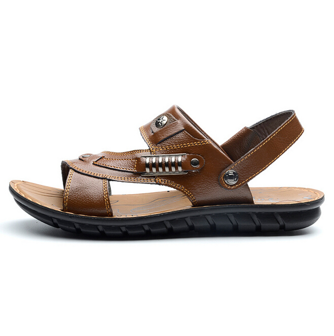 2016 summer casual cowhide men sandals 2016 leather