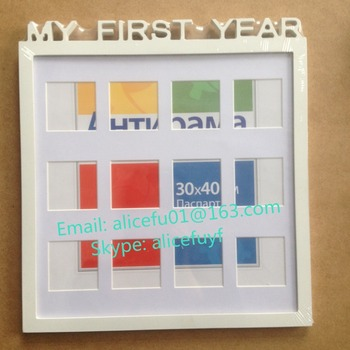 My First Year Baby 12 Months Mdf Wooden Collage Photo Picture Frame ...
