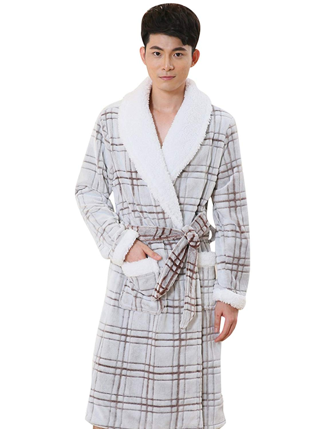 eb1a6f4a16 Get Quotations · Nueking Mens Grids Warm Comfort Fleece Flannel Bathrobe  Robes Pajamas