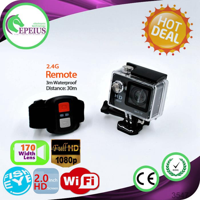 12M Pixel W9R WIFI 1080P Remote Action Camera Waterproof 30M Diving HD Fish Eyes Lens Action DV