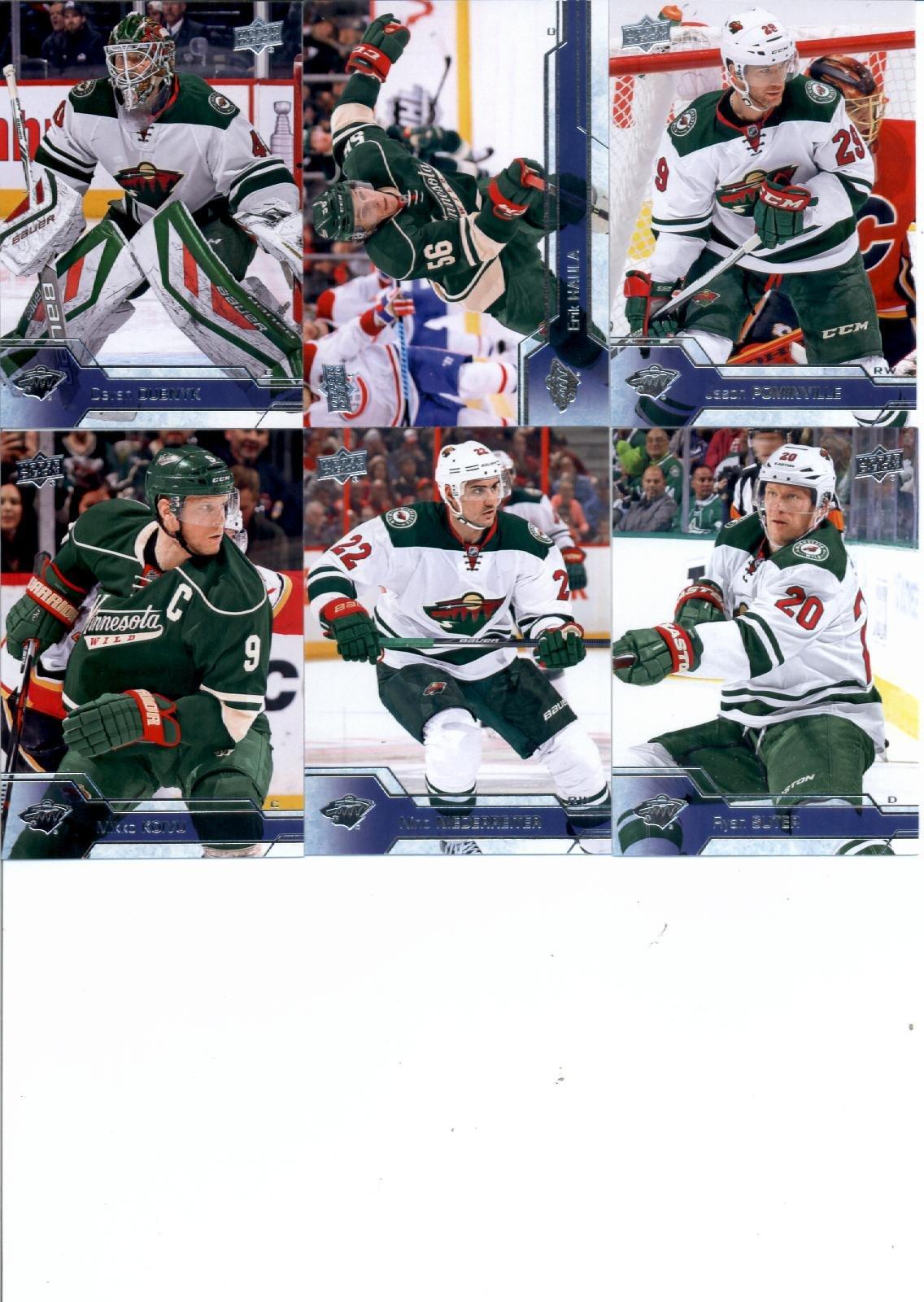 2016-17 Upper Deck Series 1 Minnesota Wild Team Set of 6 Cards: Devan Dubnyk(#93), Erik Haula(#94), Jason Pominville(#95), Mikko Koivu(#96), Nino Niederreiter(#97), Ryan Suter(#98)