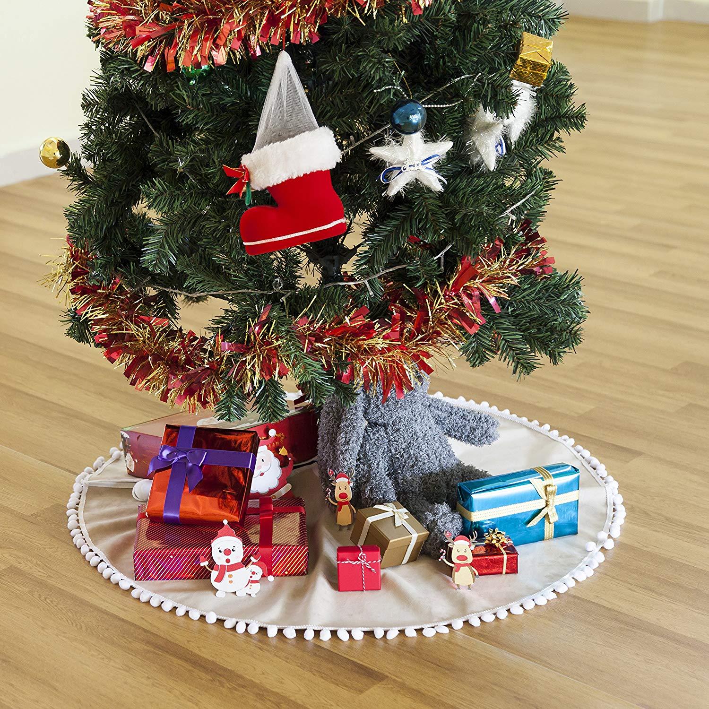get quotations hffls christmas tree skirt 36 inch light brown short velvet with snow white pompom tree skirt